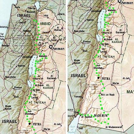 Jordan jeep tour map North to South