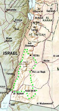 Jordan jeep tour map South